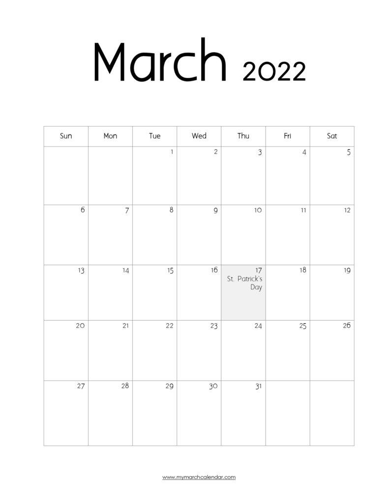 30+ March 2022 Calendar, March 2022 Blank Calendar With Regard To March 2022 Calendar Free Printable