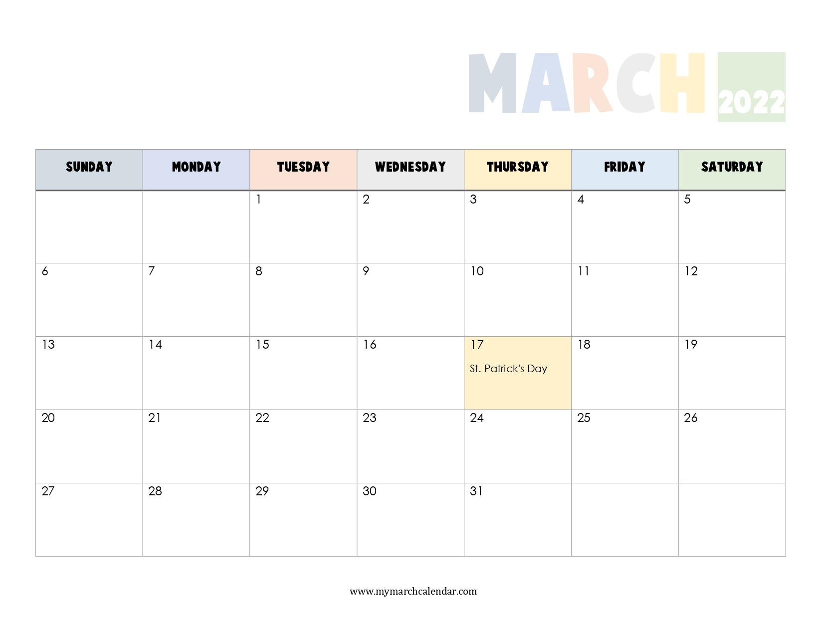 30+ March 2022 Calendar, March 2022 Blank Calendar with regard to Printable Calendars 2022 March