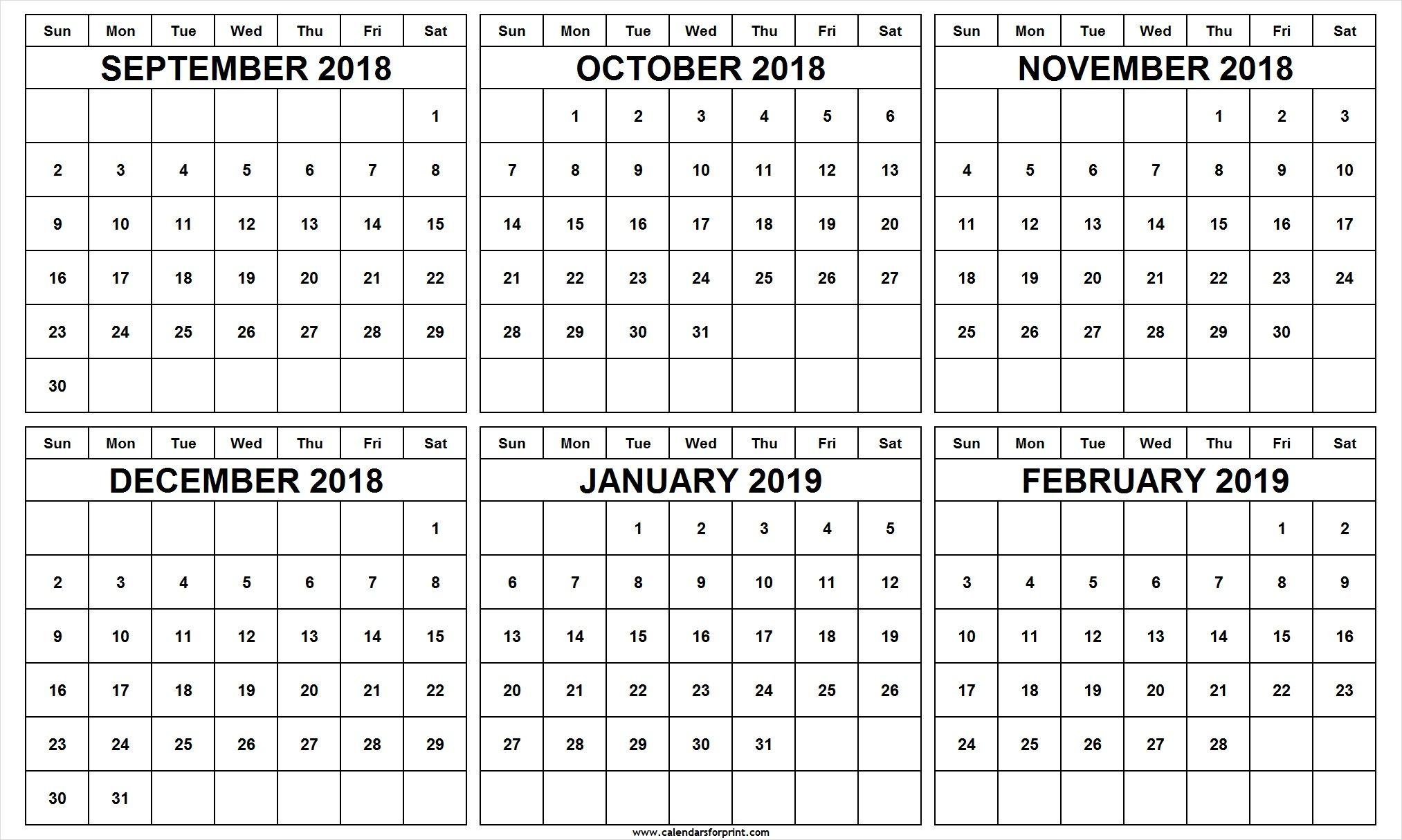6 Month Calendar September October November December 2018 With Regard To November December January February March Calendars