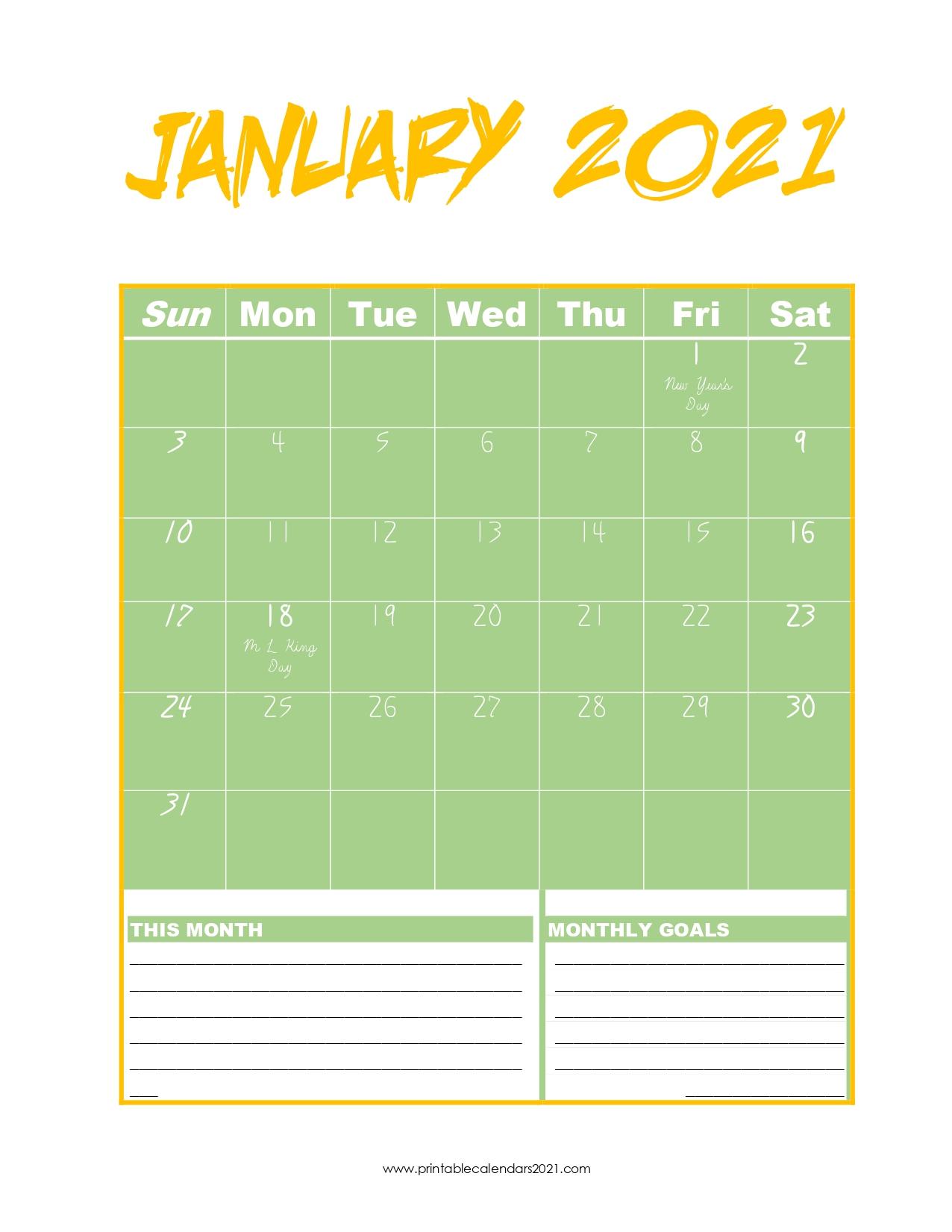 65+ January 2022 Calendar Printable, January 2022 Calendar Throughout View January 2021 Calendar