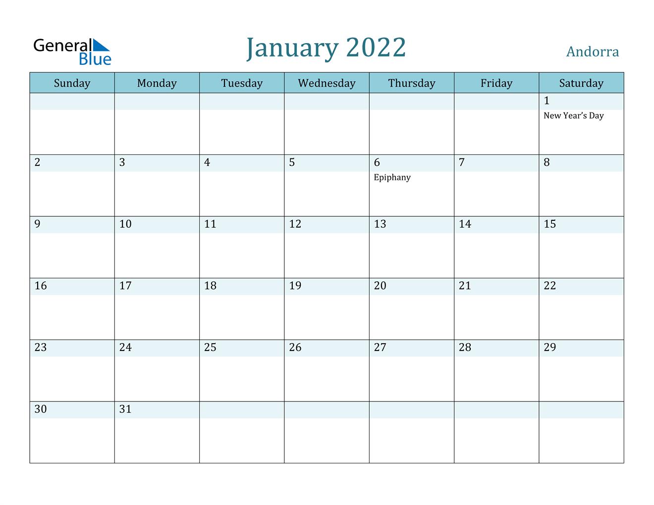 Andorra January 2022 Calendar With Holidays In January 2022 Printable Calendar