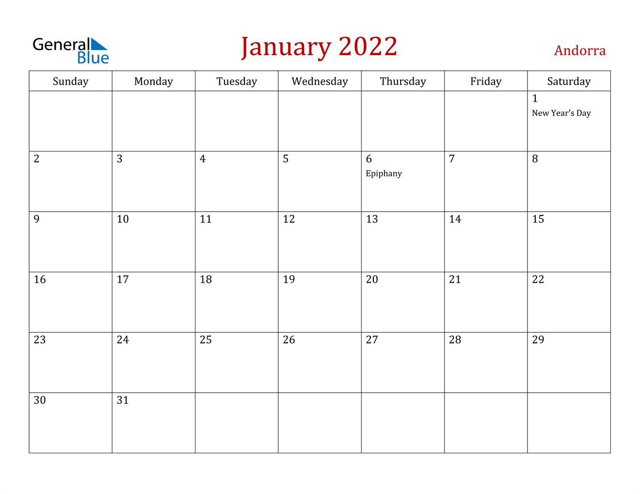 Andorra January 2022 Calendar With Holidays Intended For Calendar 2022 January Printable