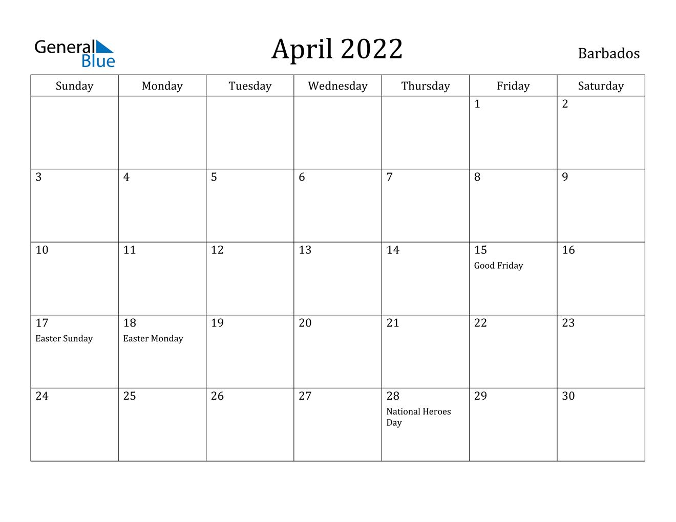 April 2022 Calendar – Barbados Throughout January February March April May Calendar 2022
