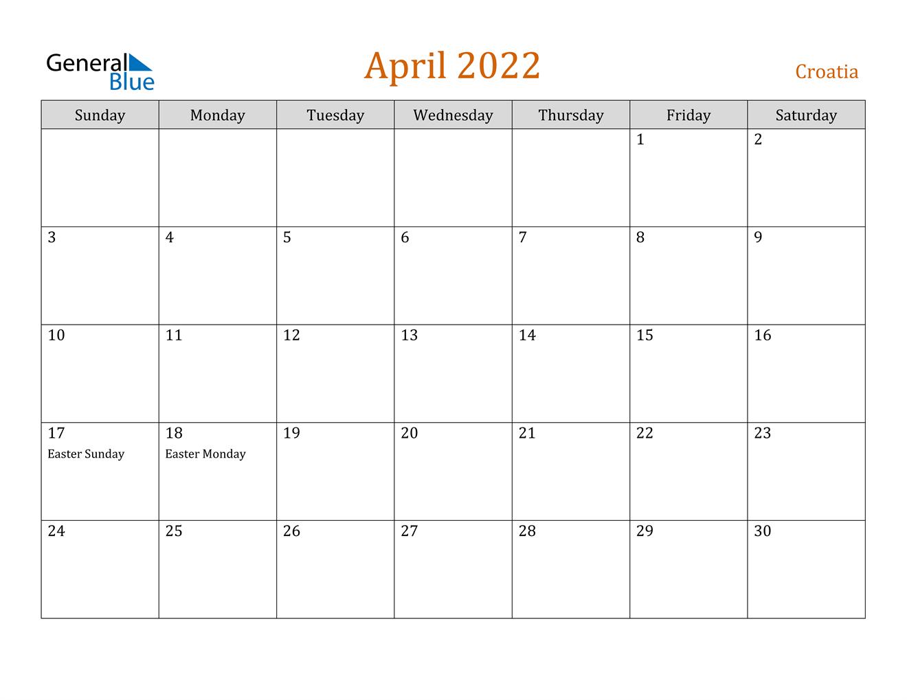 April 2022 Calendar - Croatia in Calendars March April And May 2022 Calendar