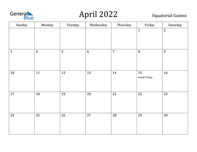 April 2022 Calendar - Equatorial Guinea intended for January February March April May Calendar 2022