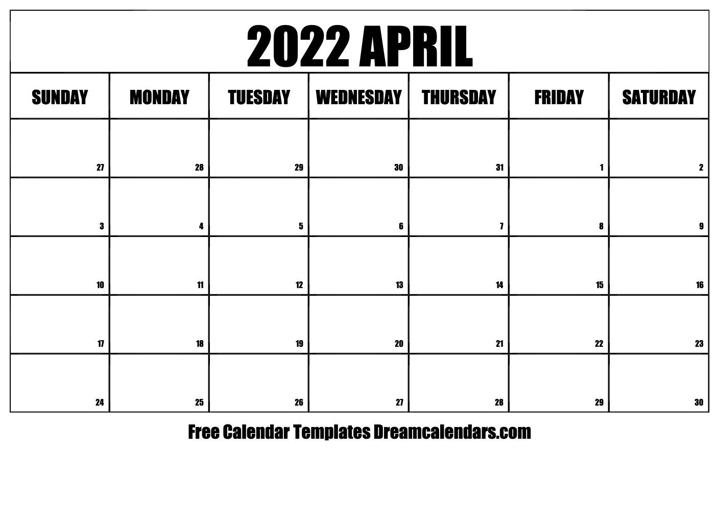 April 2022 Calendar | Free Blank Printable Templates Intended For March April 2022 Calendar Print