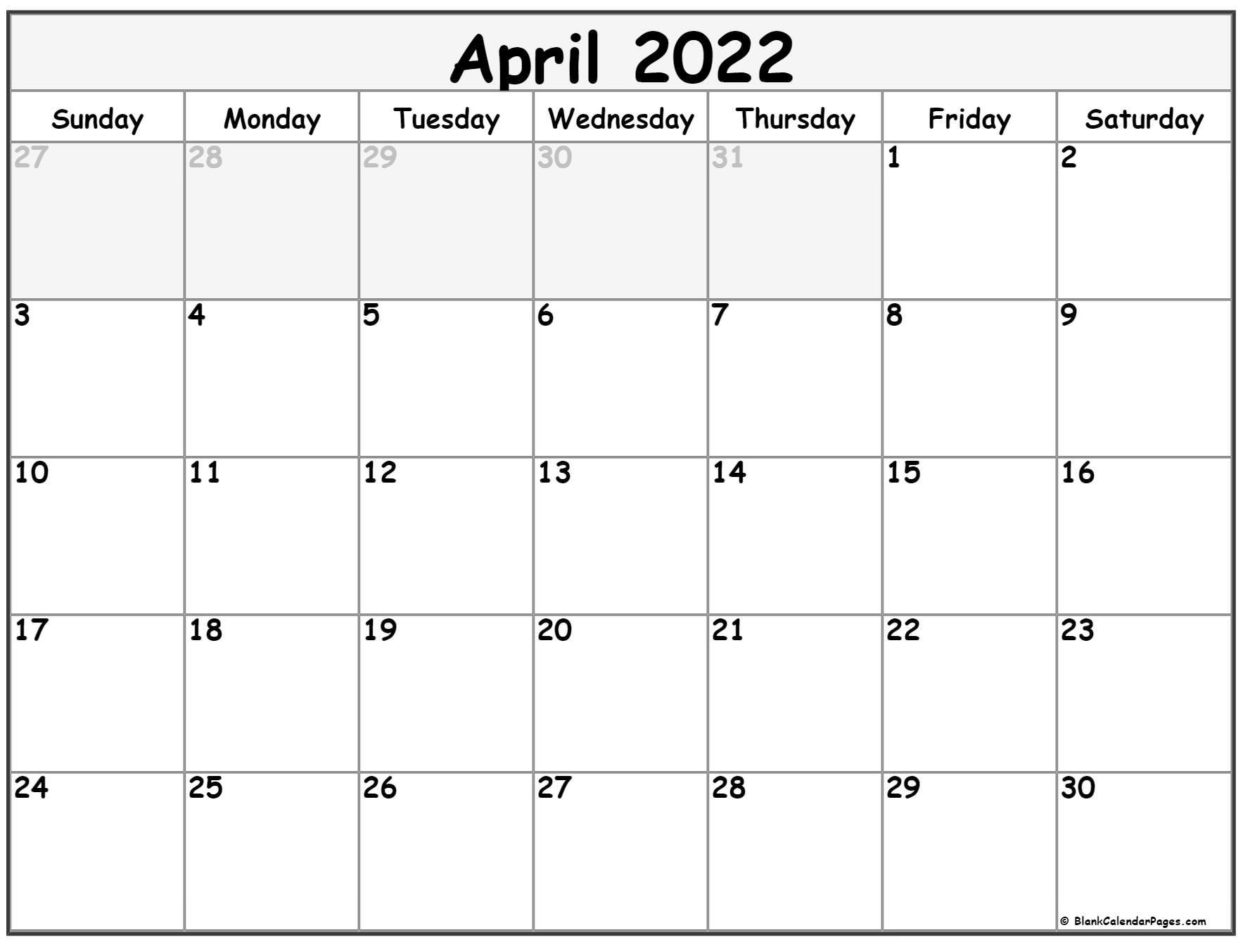 April 2022 Calendar | Free Printable Calendar Templates Inside Calendars March April And May 2022 Calendar