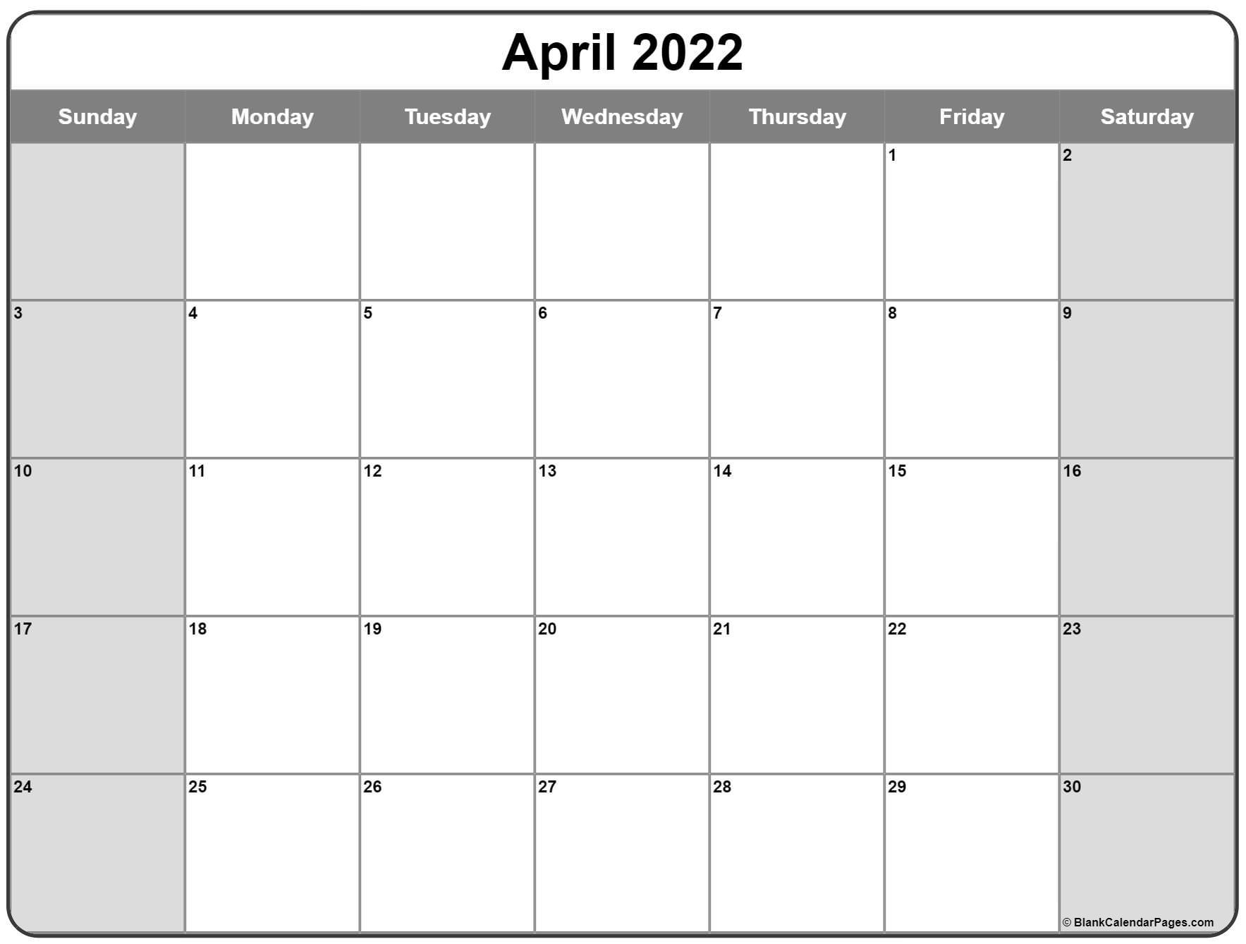 April 2022 Calendar | Free Printable Calendar Templates With Blank Calendar April 2022 Printable February
