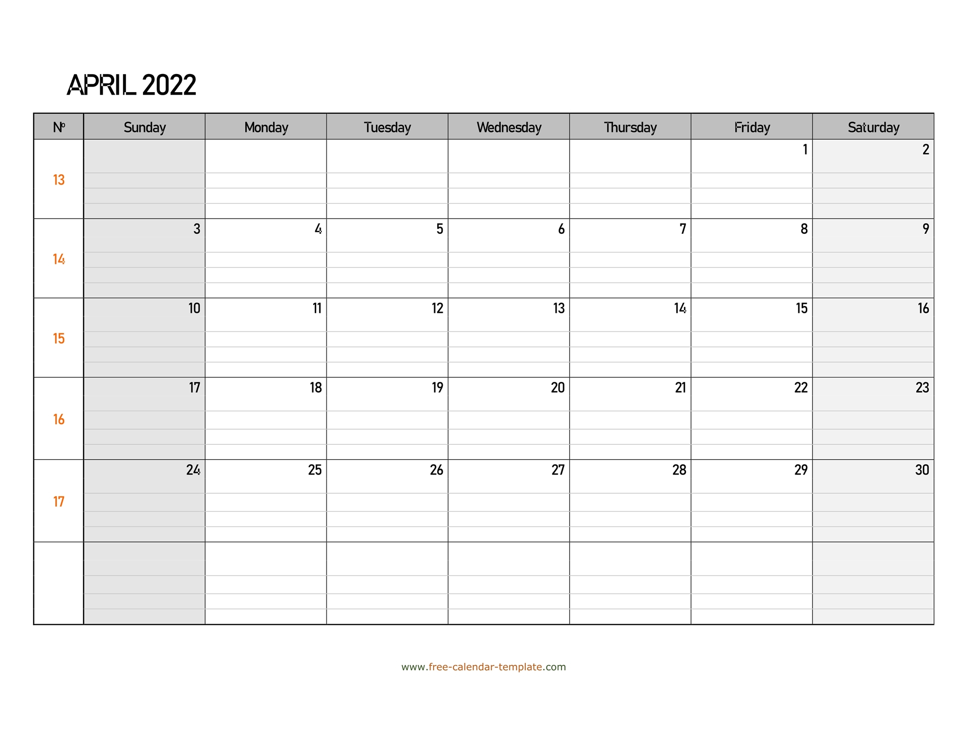 April 2022 Calendar Free Printable With Grid Lines Throughout Blank Calendar April 2022 Printable February