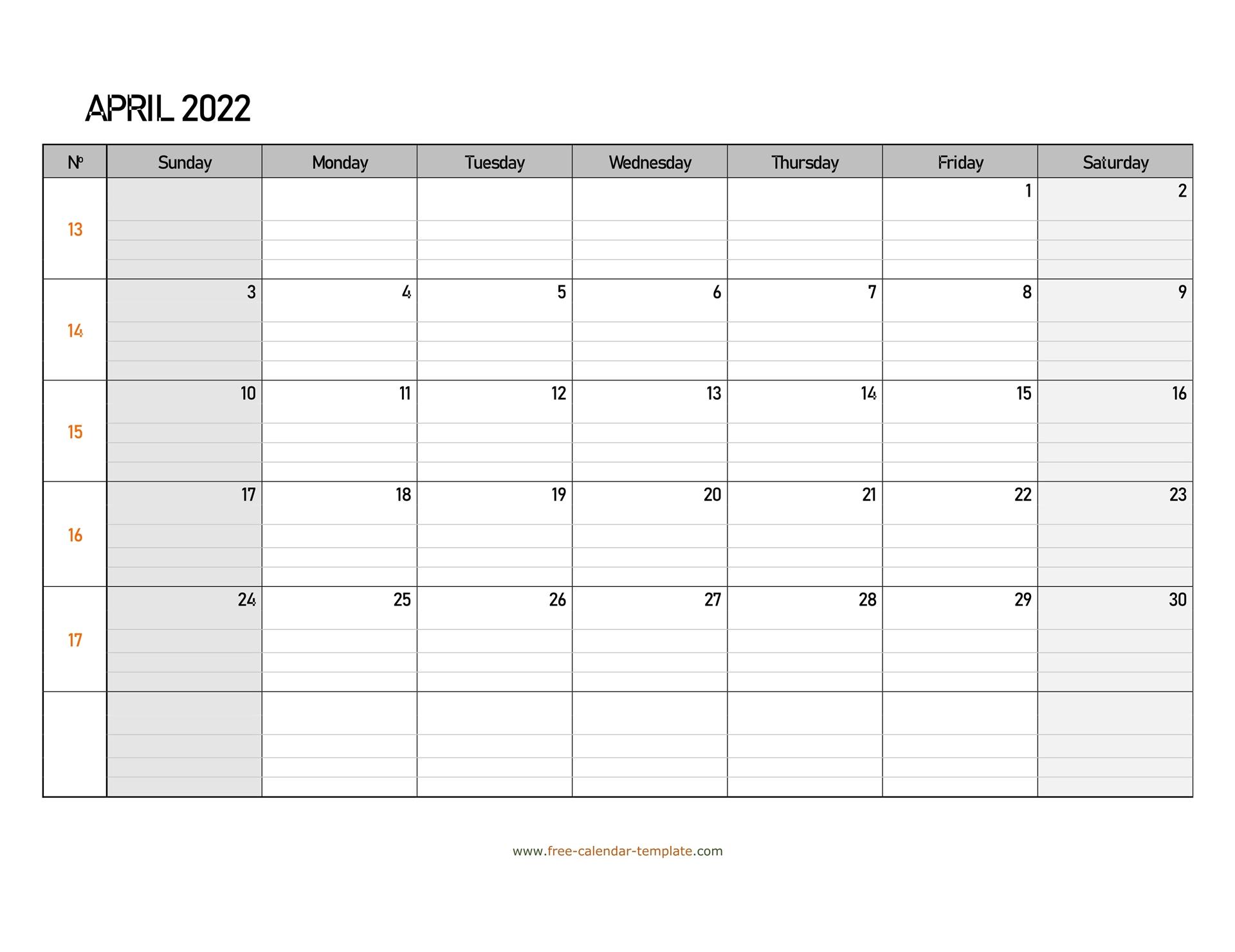 April 2022 Calendar Free Printable With Grid Lines With Regard To March April 2022 Calendar Free Printable
