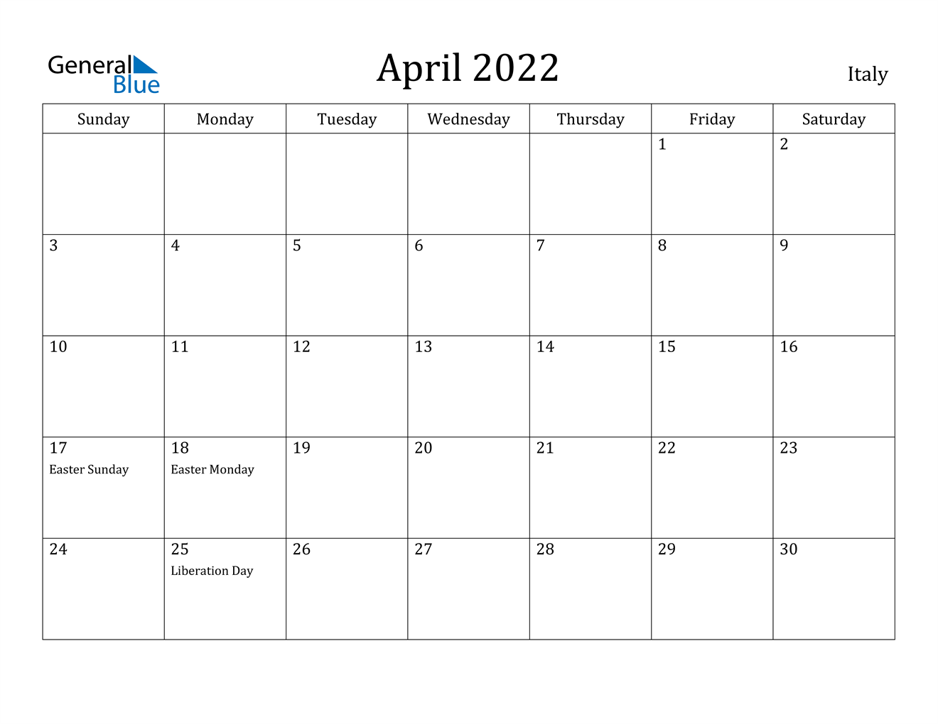 April 2022 Calendar - Italy Throughout March April 2022 Calendar Free Printable
