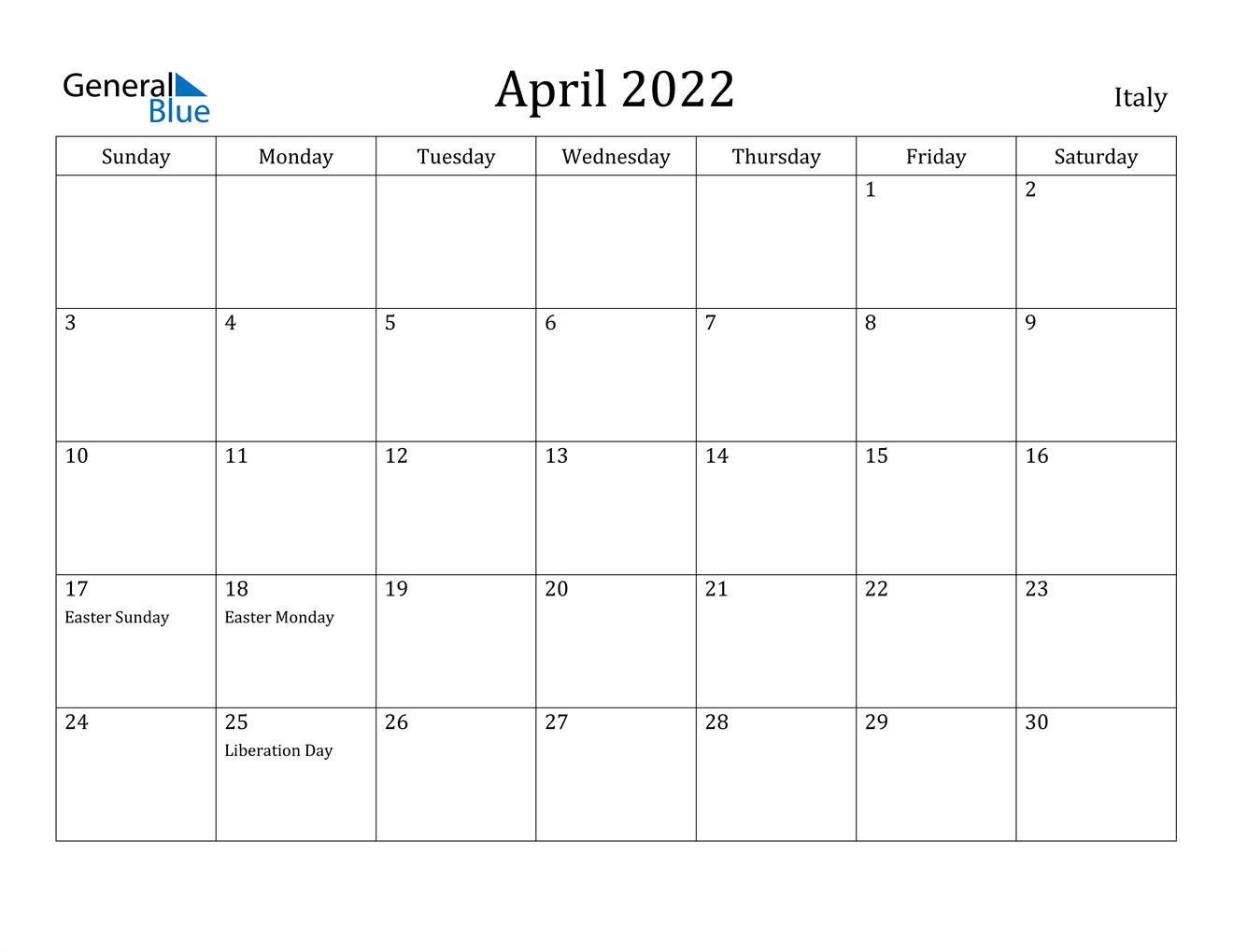 April 2022 Calendar - Italy With Regard To 2022 Calendar March And April