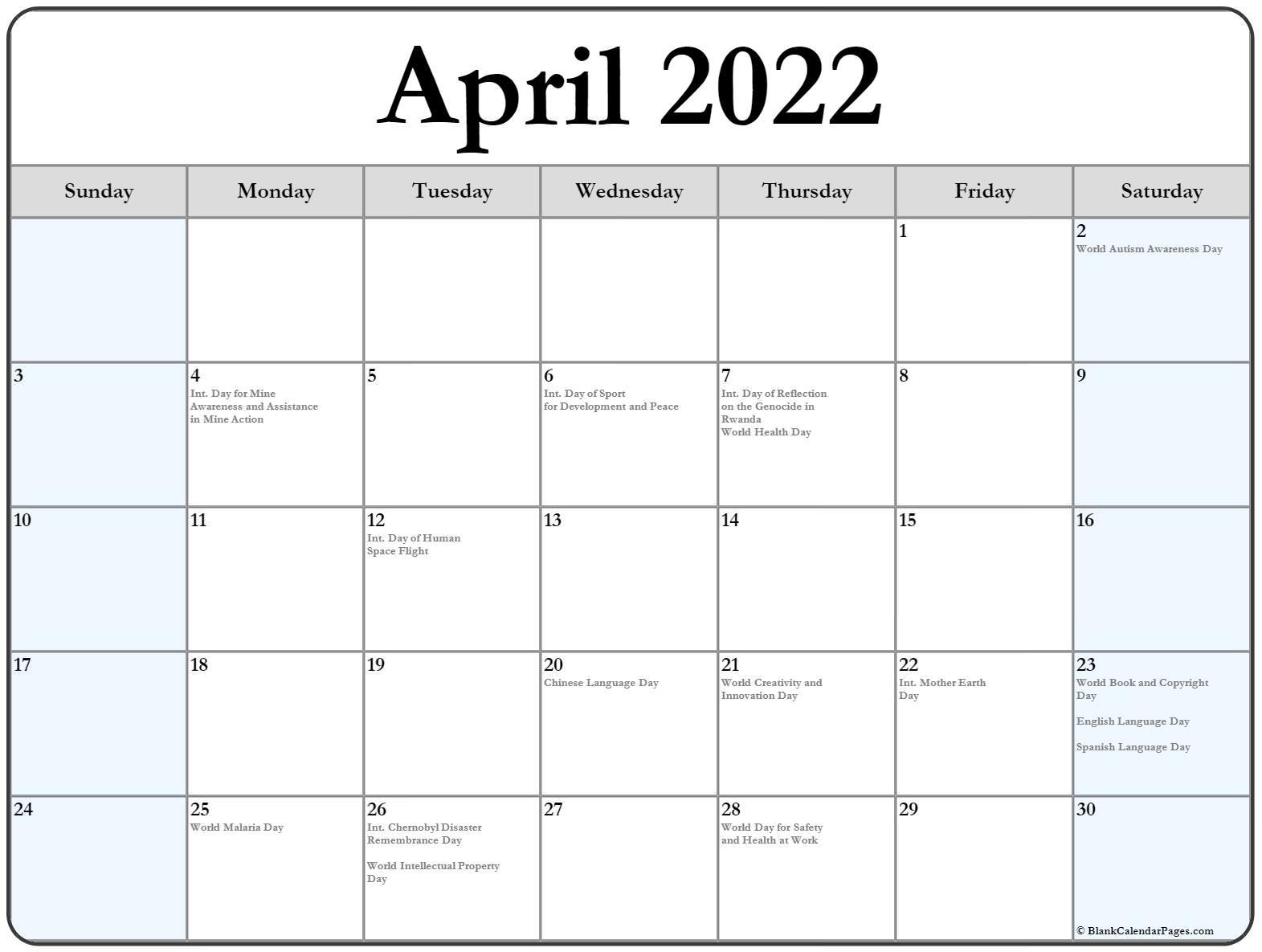 April 2022 Calendar With Holidays Inside Calendars March April And May 2022 Calendar