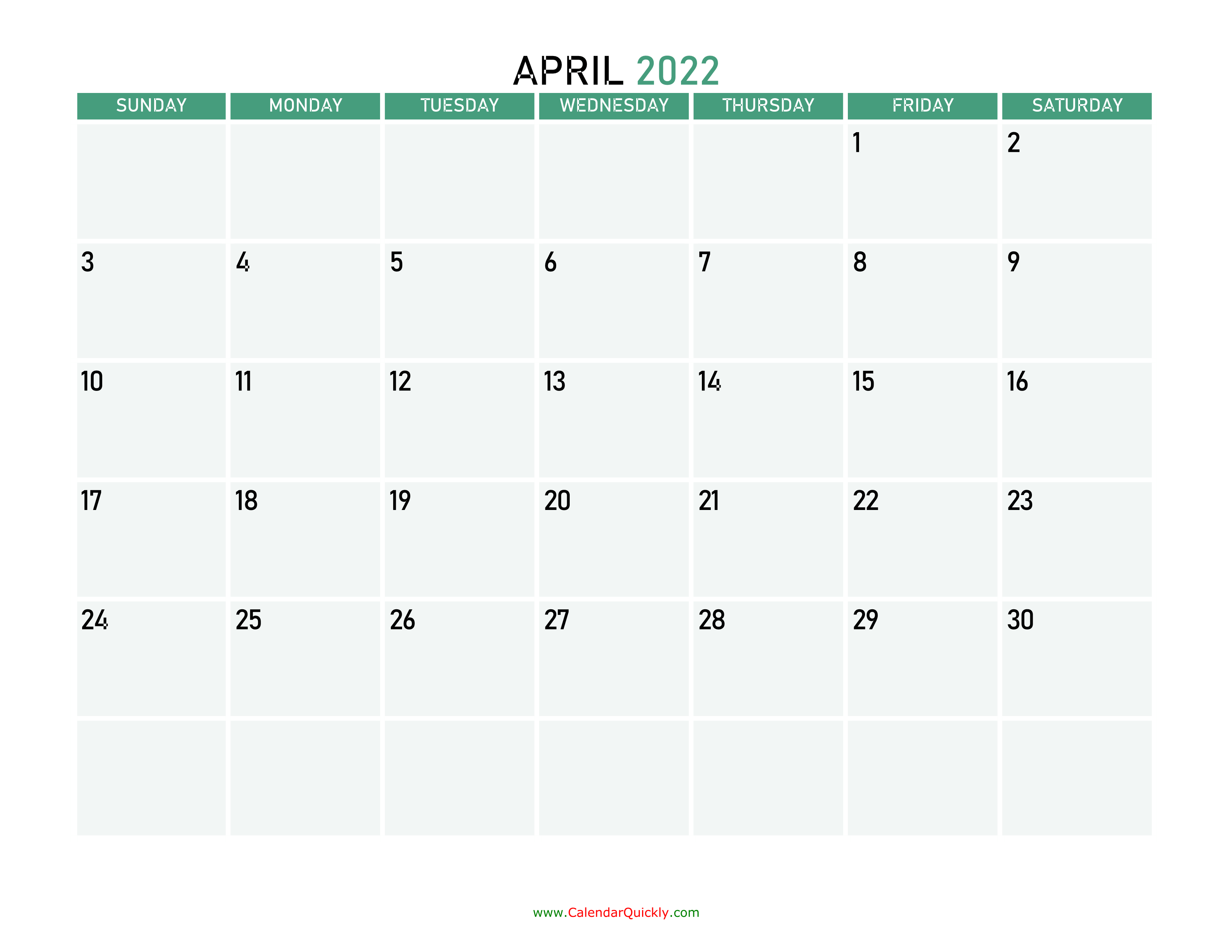 April 2022 Calendars | Calendar Quickly intended for March April 2022 Calendar Free Printable