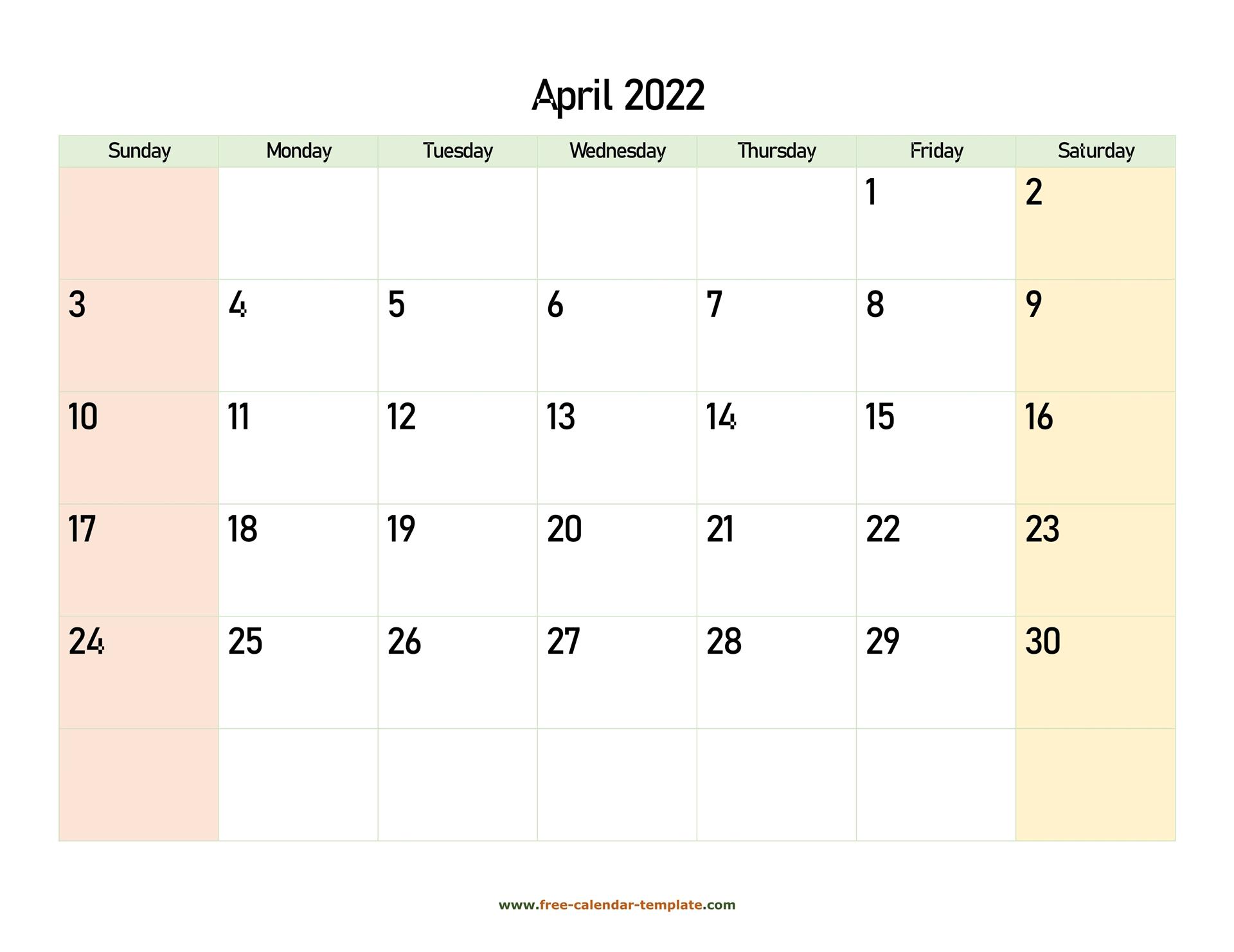 April 2022 Free Calendar Tempplate | Free Calendar Regarding March April 2022 Calendar Free Printable