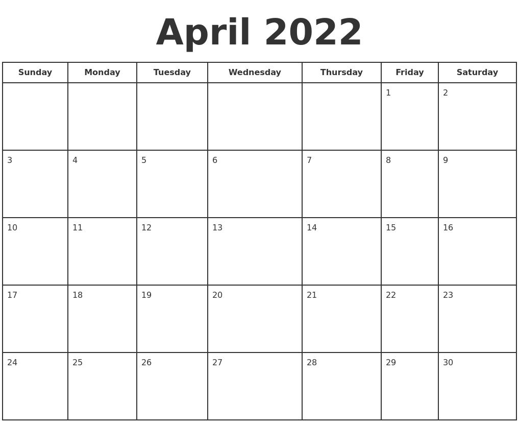 April 2022 Print A Calendar Inside March April May 2022 Calendar Print