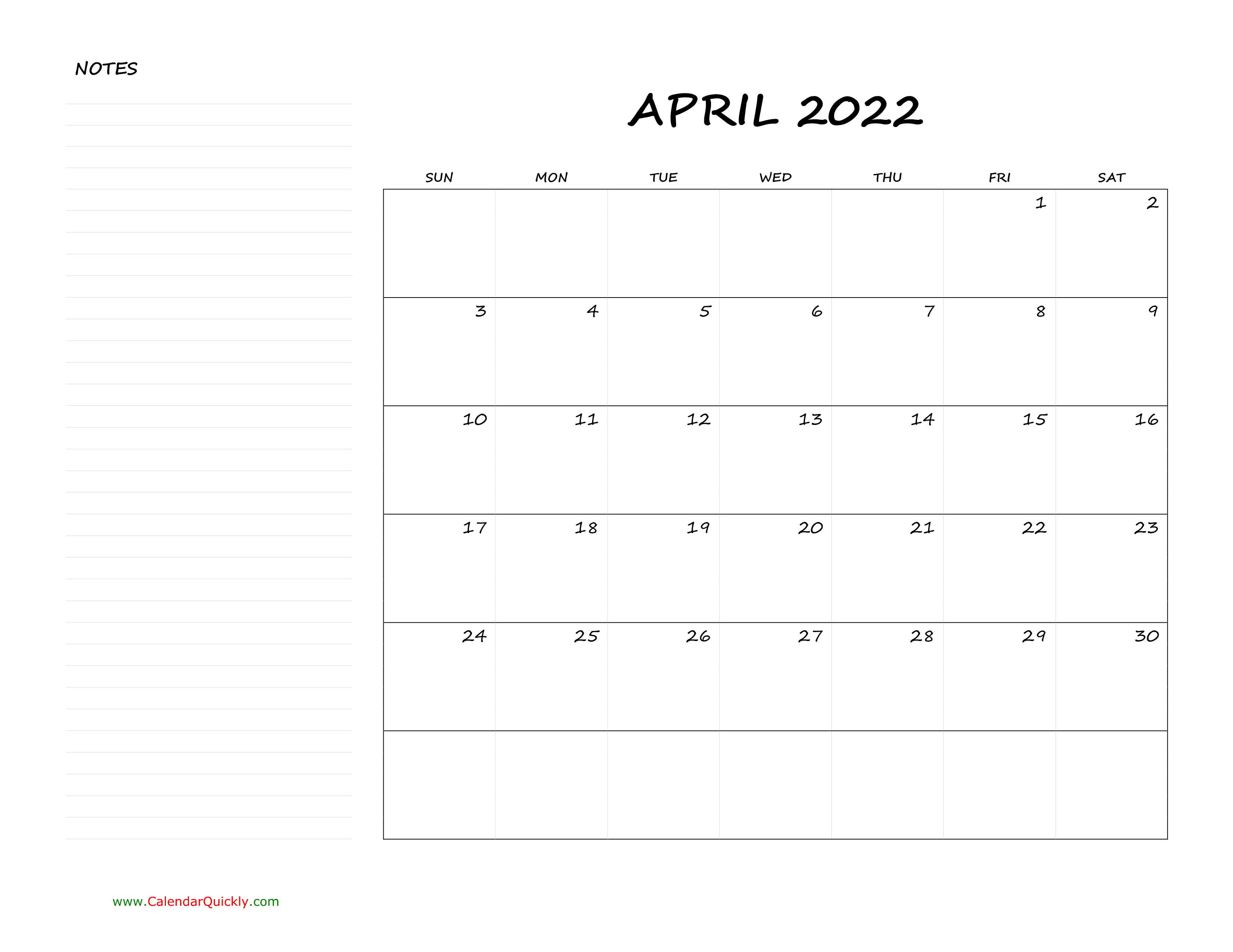 April Blank Calendar 2022 With Notes | Calendar Quickly For March April May 2022 Calendar Print