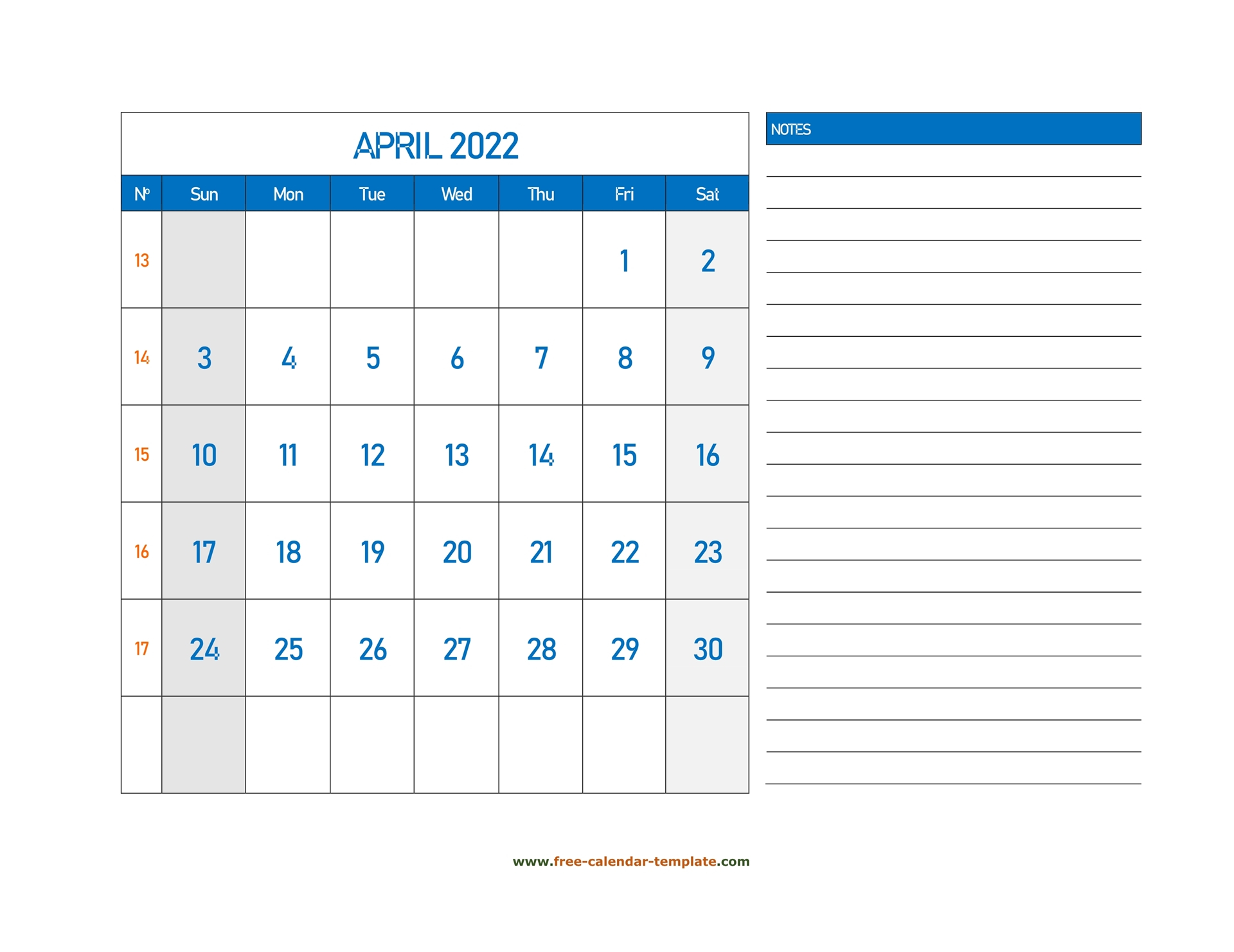 April Calendar 2022 Grid Lines For Holidays And Notes Pertaining To March & April 2022 Calendar Free Printable