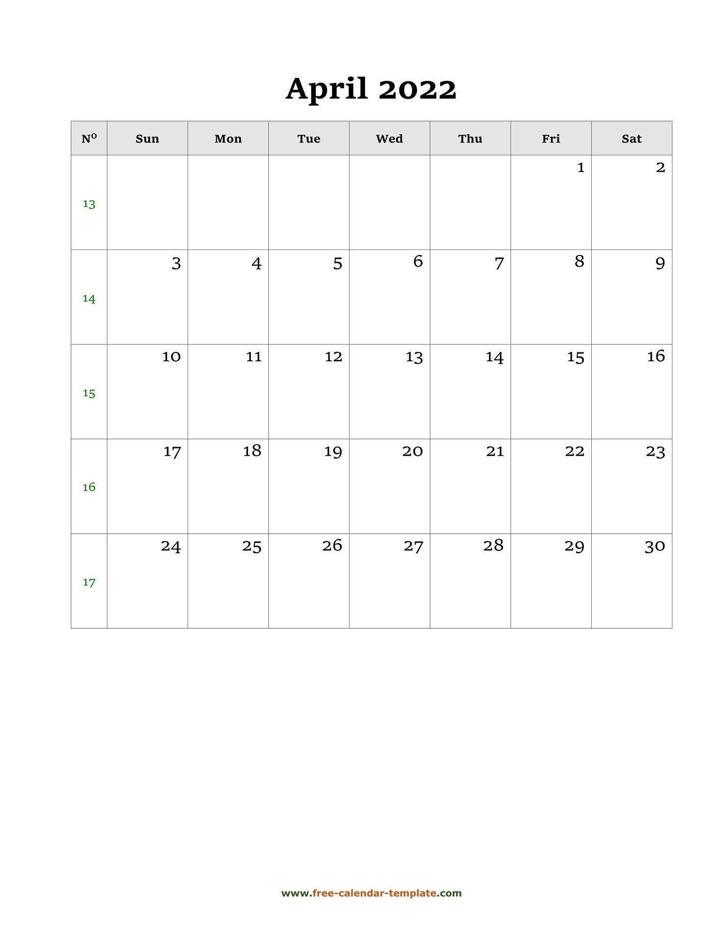 April Calendar 2022 Simple Design With Large Box On Each Regarding March And April 2022 Calendar Free Printable