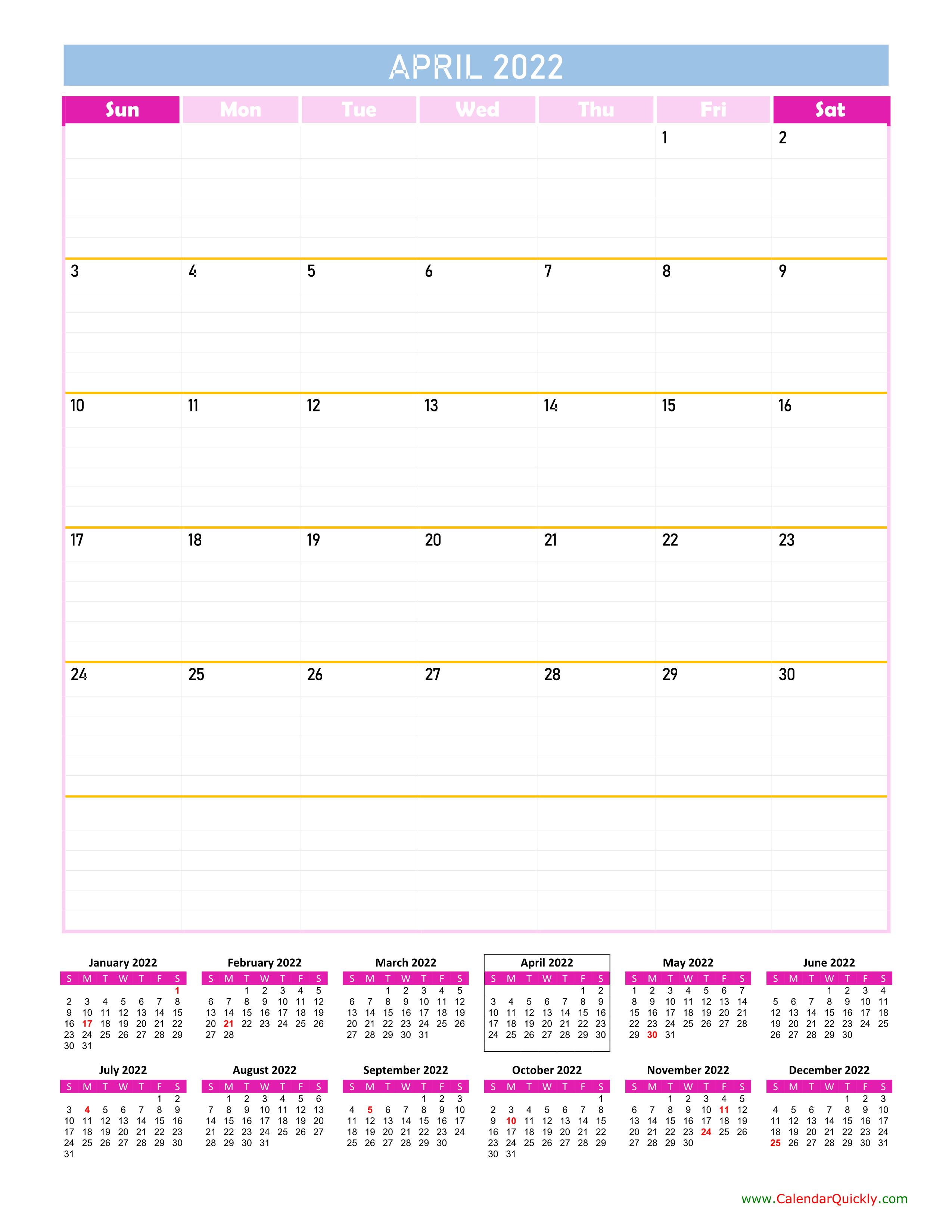 April Calendar 2022 Vertical | Calendar Quickly Regarding March April May 2022 Calendar Print