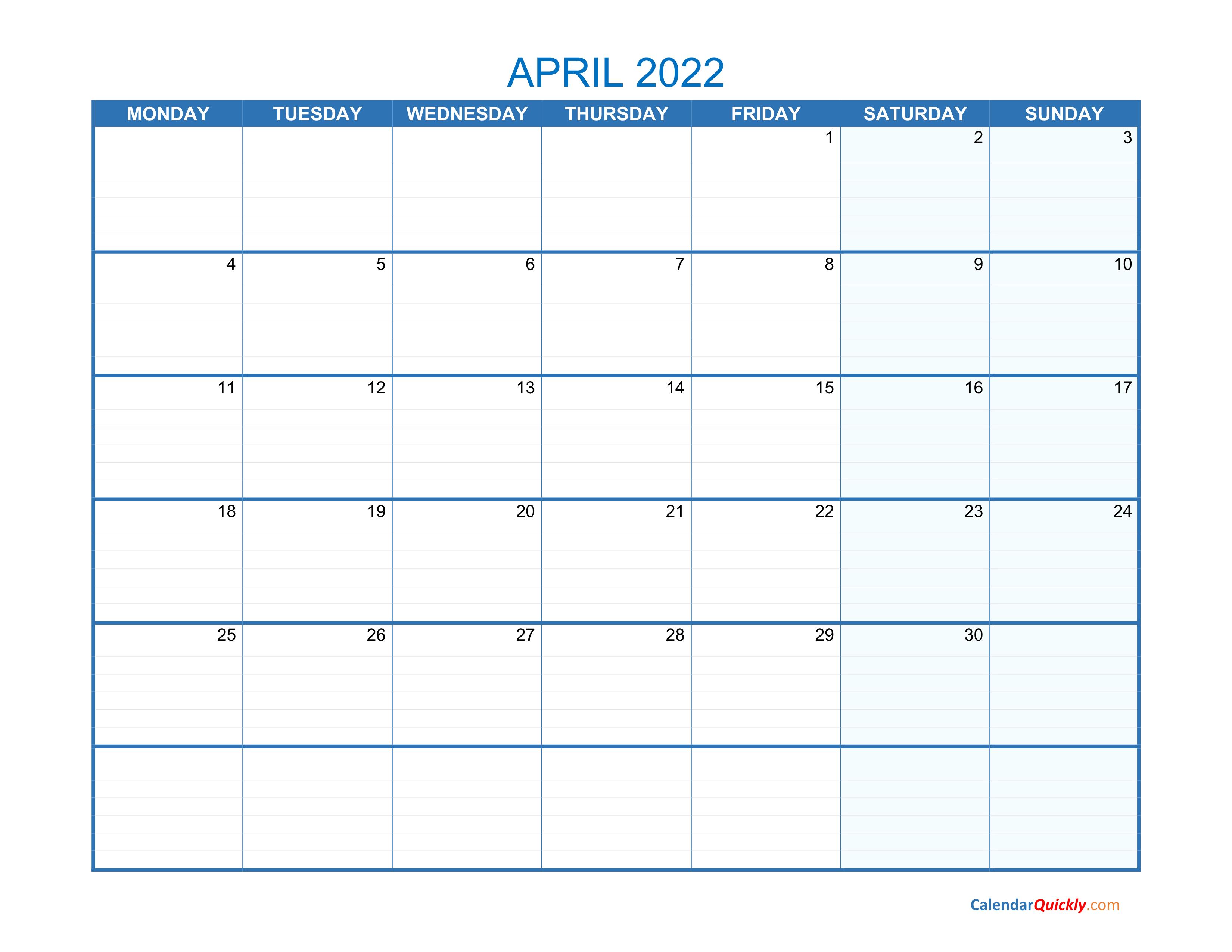 April Monday 2022 Blank Calendar | Calendar Quickly throughout February March And April 2022 Calendar
