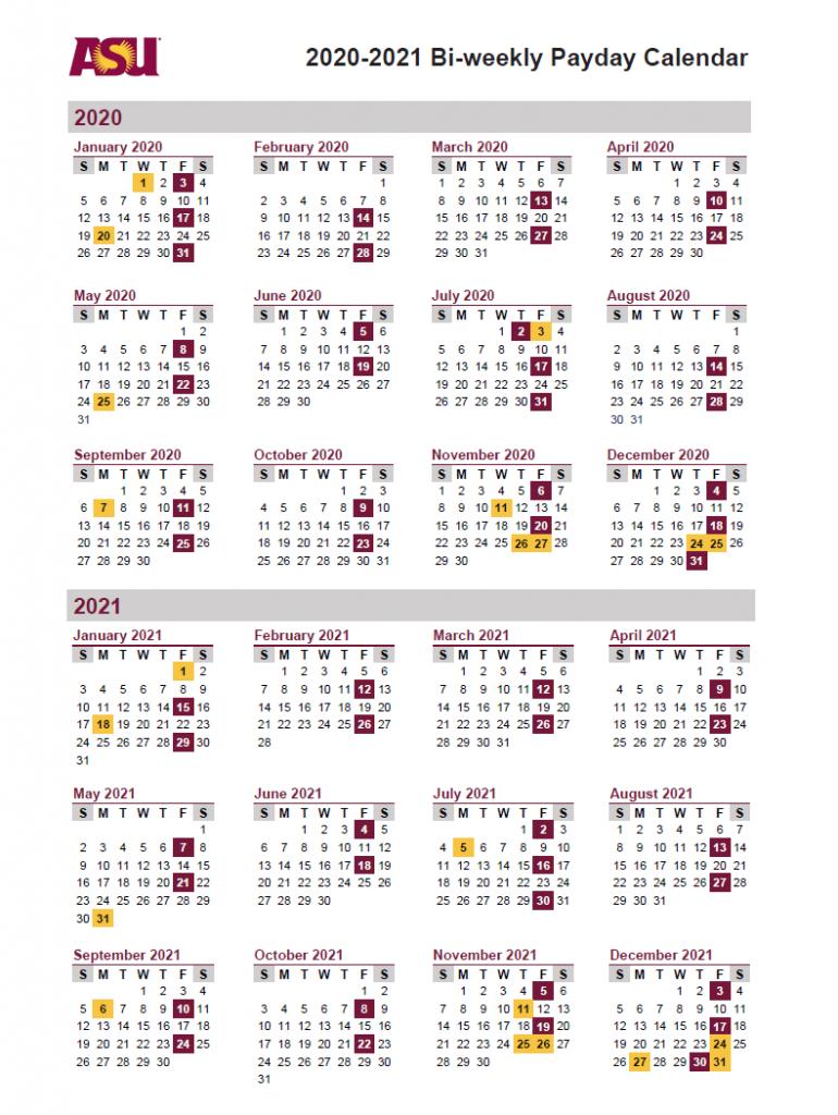 Arizona State University (Asu) Payroll Calendar 2021 Throughout University Of Phoenix Calendar 2021