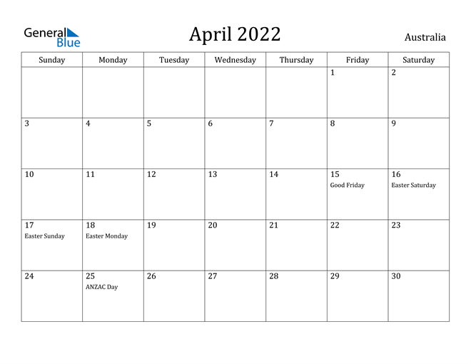 Australia April 2022 Calendar With Holidays For January February March April May Calendar 2022