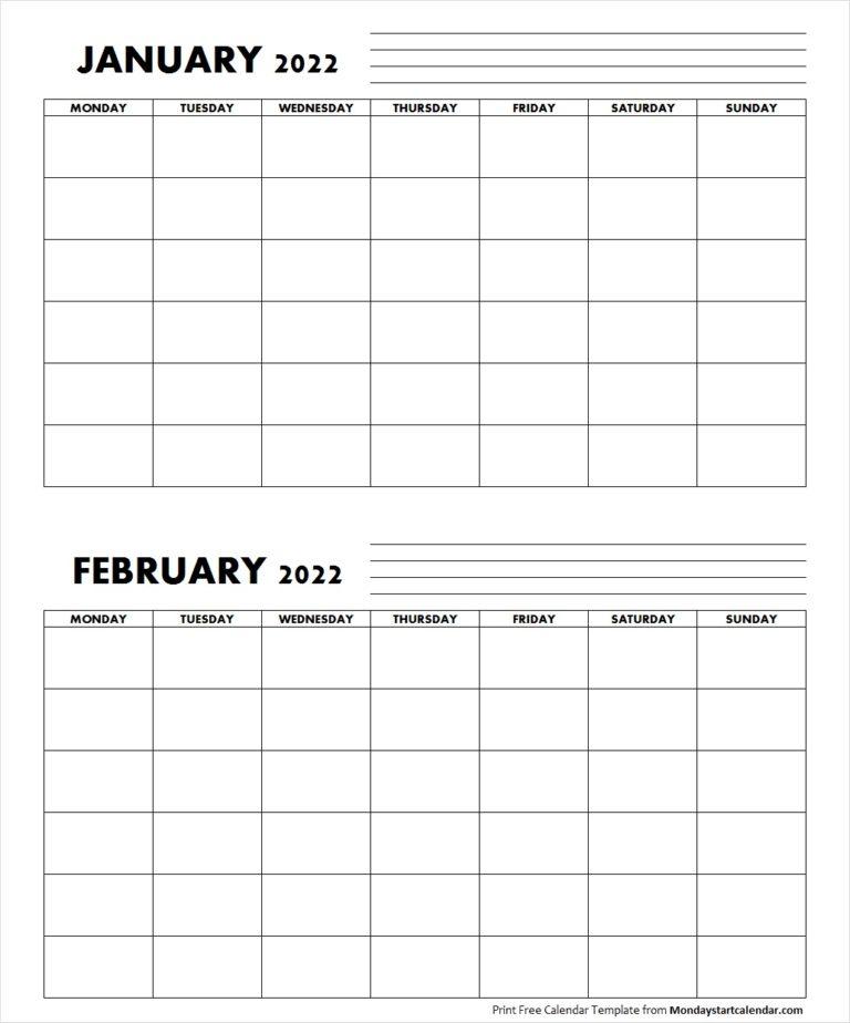 Blank January February 2022 Calendar Monday Start For January 2022 Calendar Monday Start