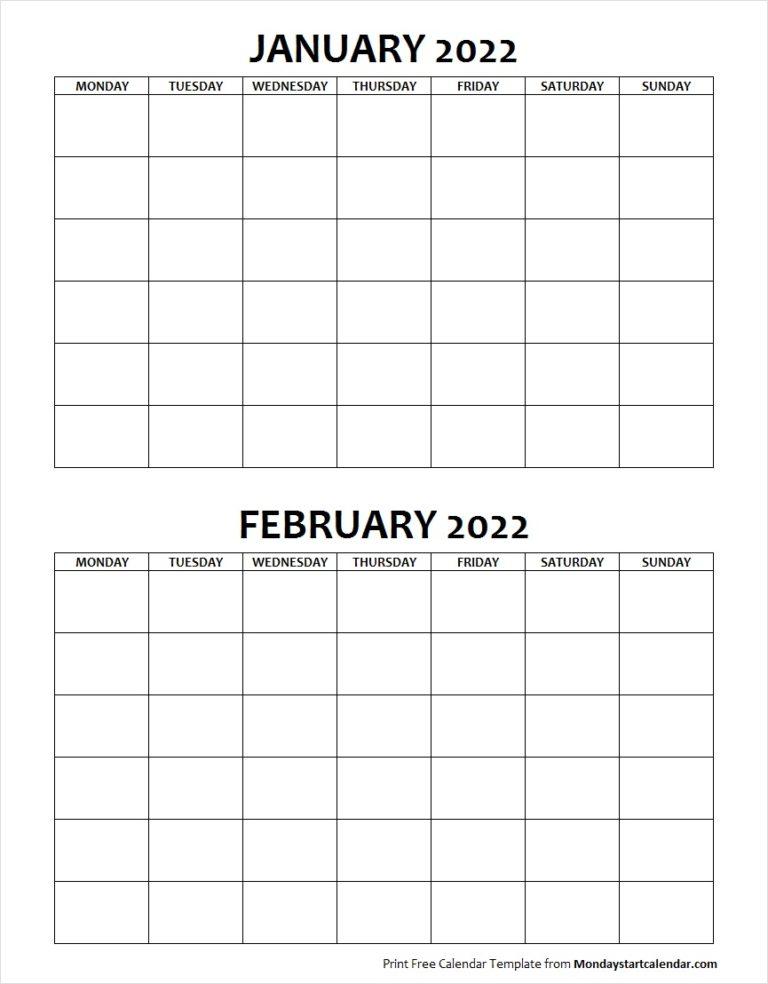 Blank January February 2022 Calendar Monday Start With February 2022 Calendar Monday Start