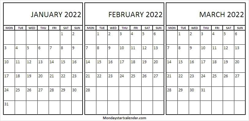 Blank January To March 2022 Calendar – Cute Calendar Inside January 2022 Calendar Monday Start