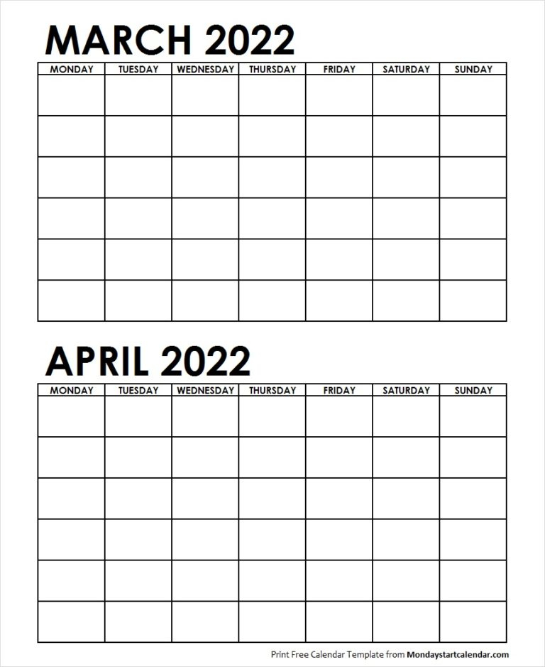 Blank March April 2022 Calendar Monday Start | Two Months With March April 2022 Calendar Free Printable