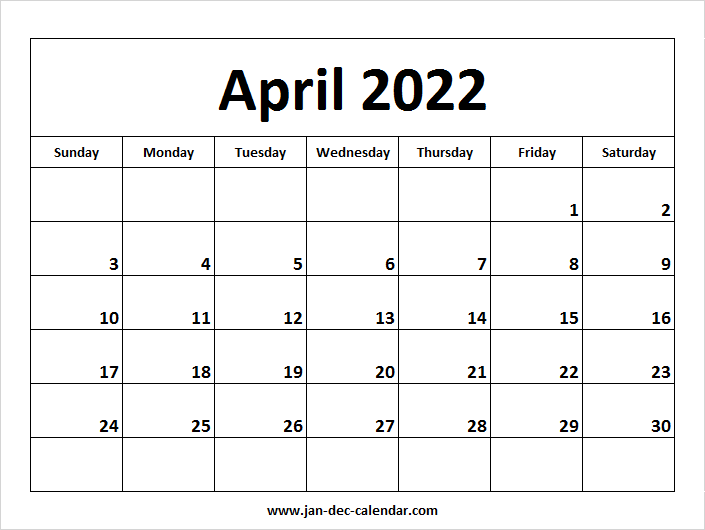 Blank Printable April Calendar 2022 Template Free In March April May 2022 Calendar Print