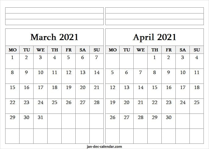 Blank Printable Calendar 2021 March April   Editable 2021 Intended For 2021 Calendar March April May