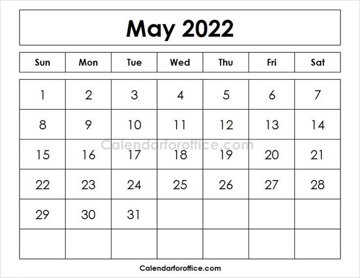Blank Printable Calendar 2022 May | May Calendar Printable Inside Calendar March April May June 2022