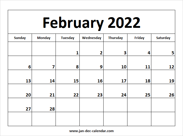 Blank Printable February Calendar 2022 Template Free Inside Feb 2022 Calendar Template