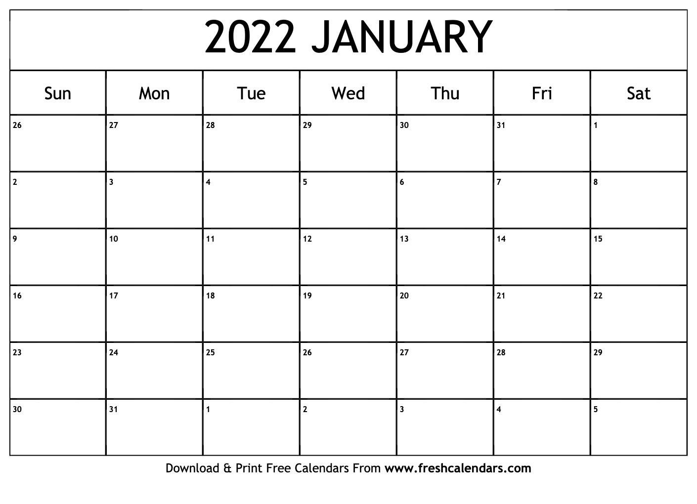 Blank Printable January 2022 Calendars In Monthly Calendar 2022 January