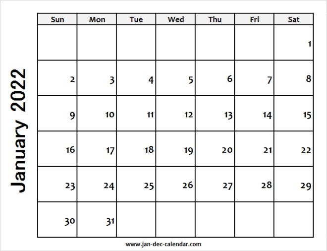Blank Printable January Calendar 2022 Template Free Intended For Blank January 2022 Calendar