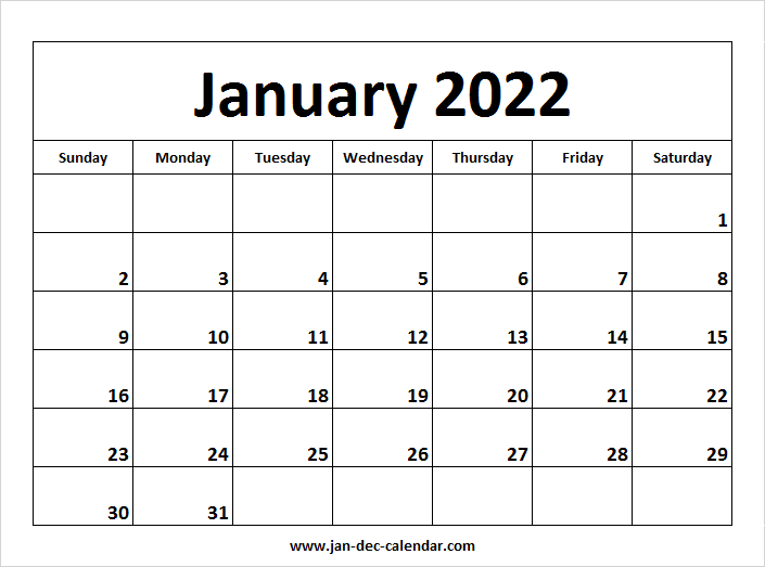 Blank Printable January Calendar 2022 Template Free Intended For Images Of January 2022 Calendar
