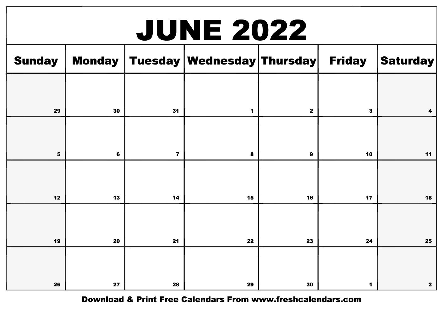 Blank Printable June 2022 Calendars With Regard To Calendar March April May June 2022