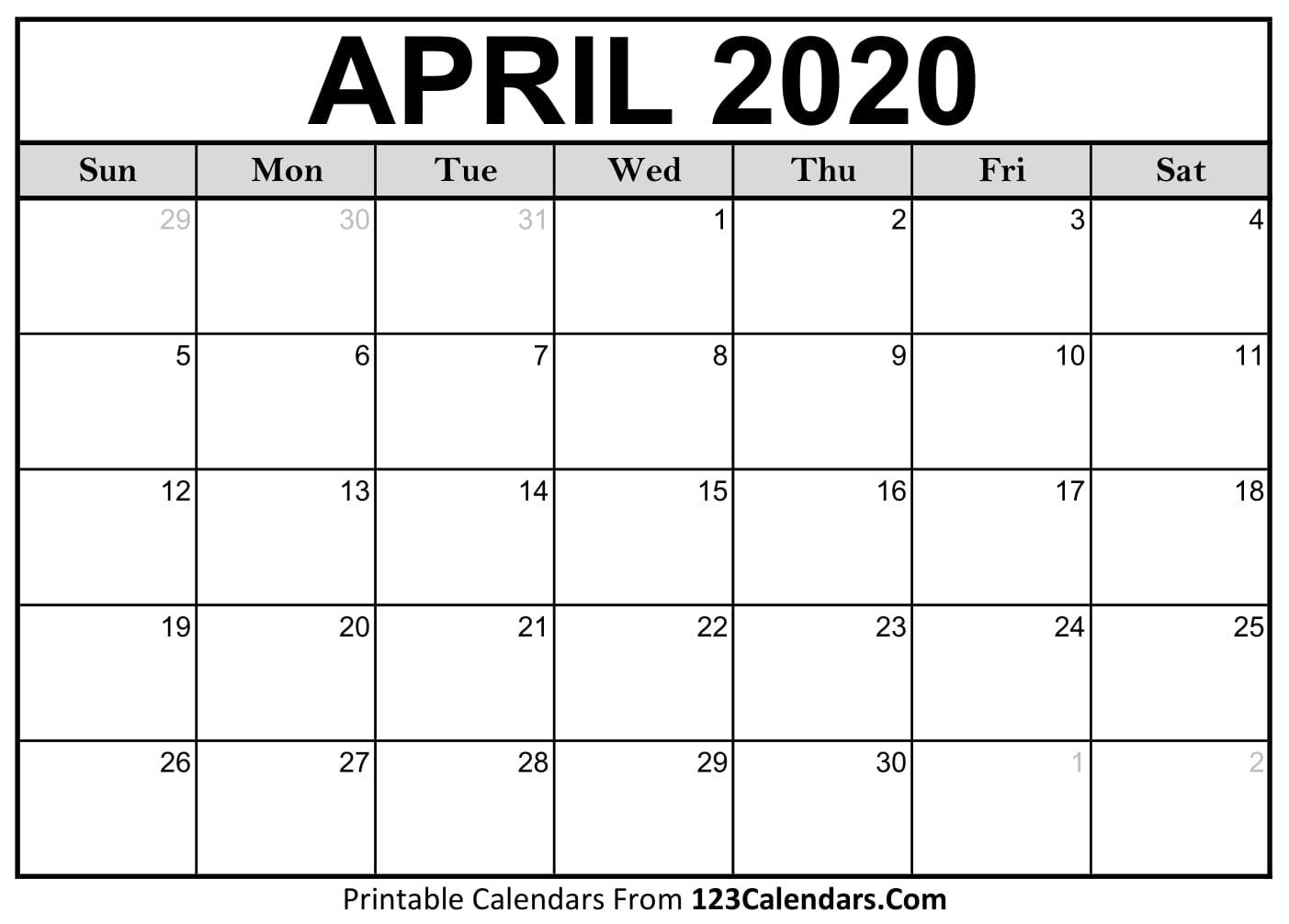 Calendar 2020 March April   Calendar Printables Free Templates In March April Calendar Printable