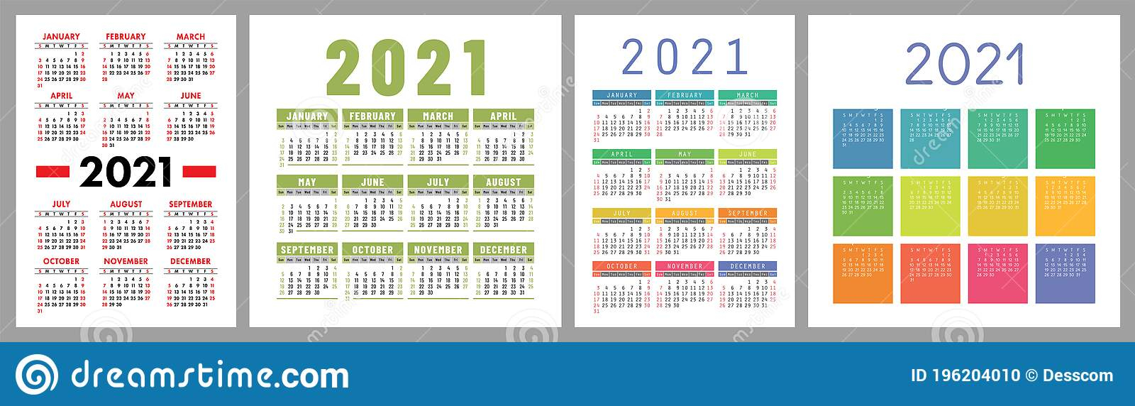 Calendar 2021 Year Set. Vector Template Collection. Simple Pertaining To January February March April 2021 Calendar