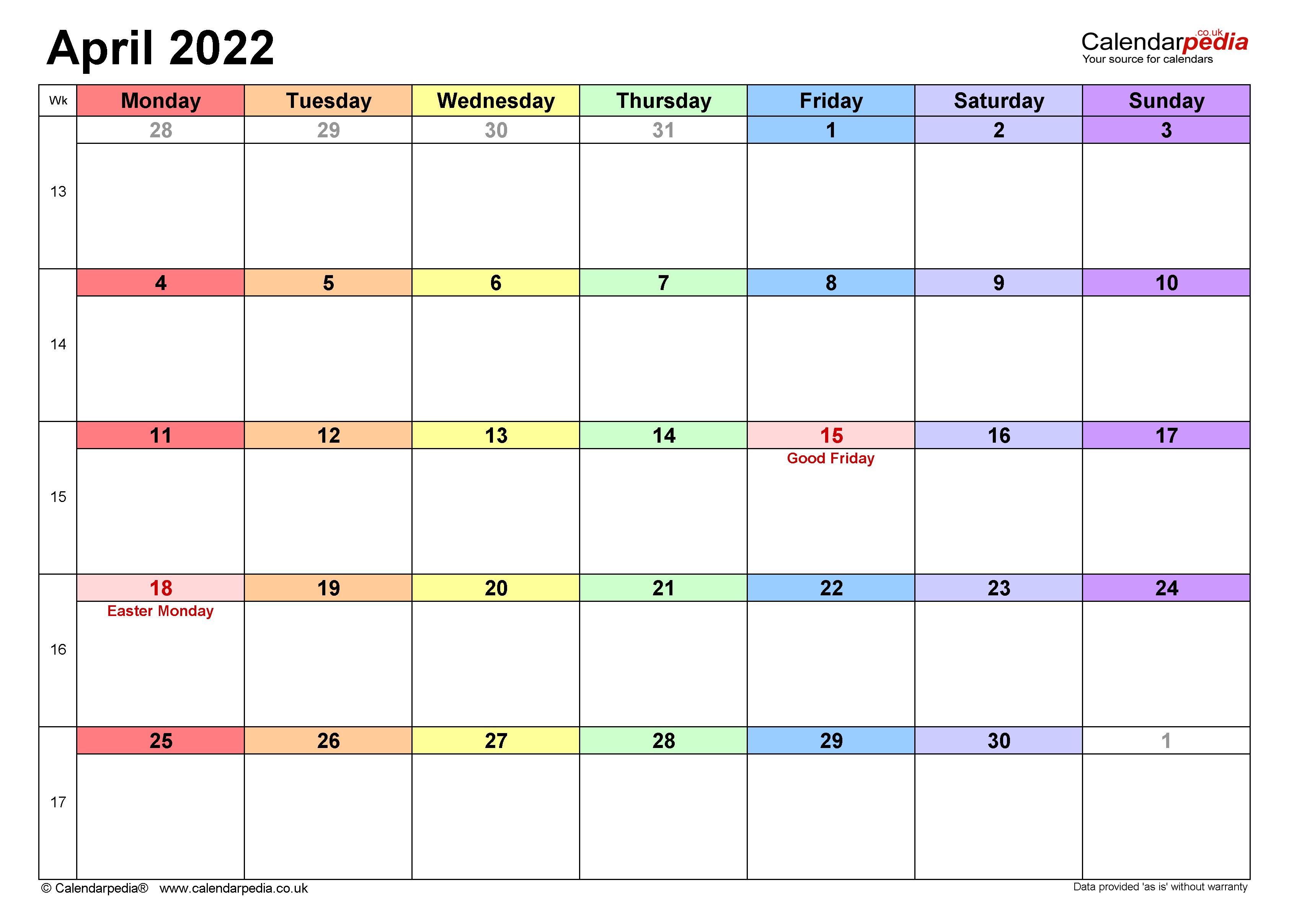 Calendar April 2022 Uk With Excel, Word And Pdf Templates Regarding Blank Calendar April 2022 Printable February