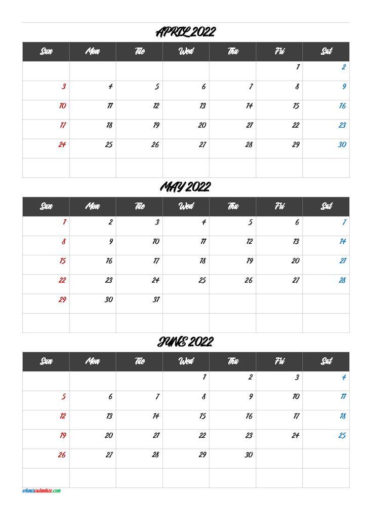 Calendar April May June 2022 [Q1-Q2-Q3-Q4] | Calendar intended for 2022 Calendar Feb March April