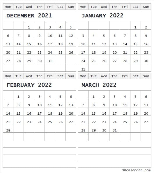 Calendar December 2021 To March 2022 - Cute Blank 2021 With December January February Calendar