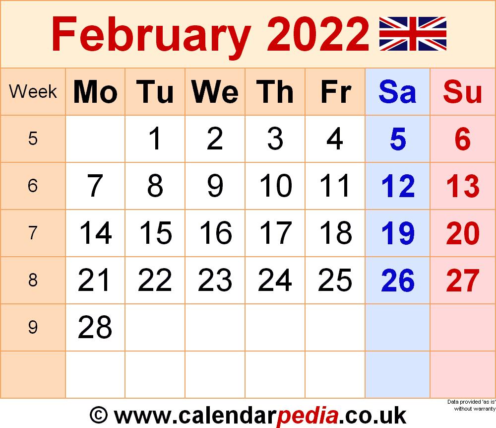 Calendar February 2022 Uk With Excel, Word And Pdf Templates Inside February 2022 Calendar Printable