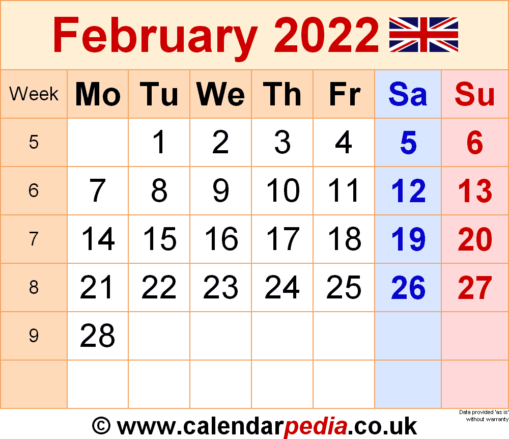 Calendar February 2022 Uk With Excel, Word And Pdf Templates Inside Free Printable Calendar For February 2022