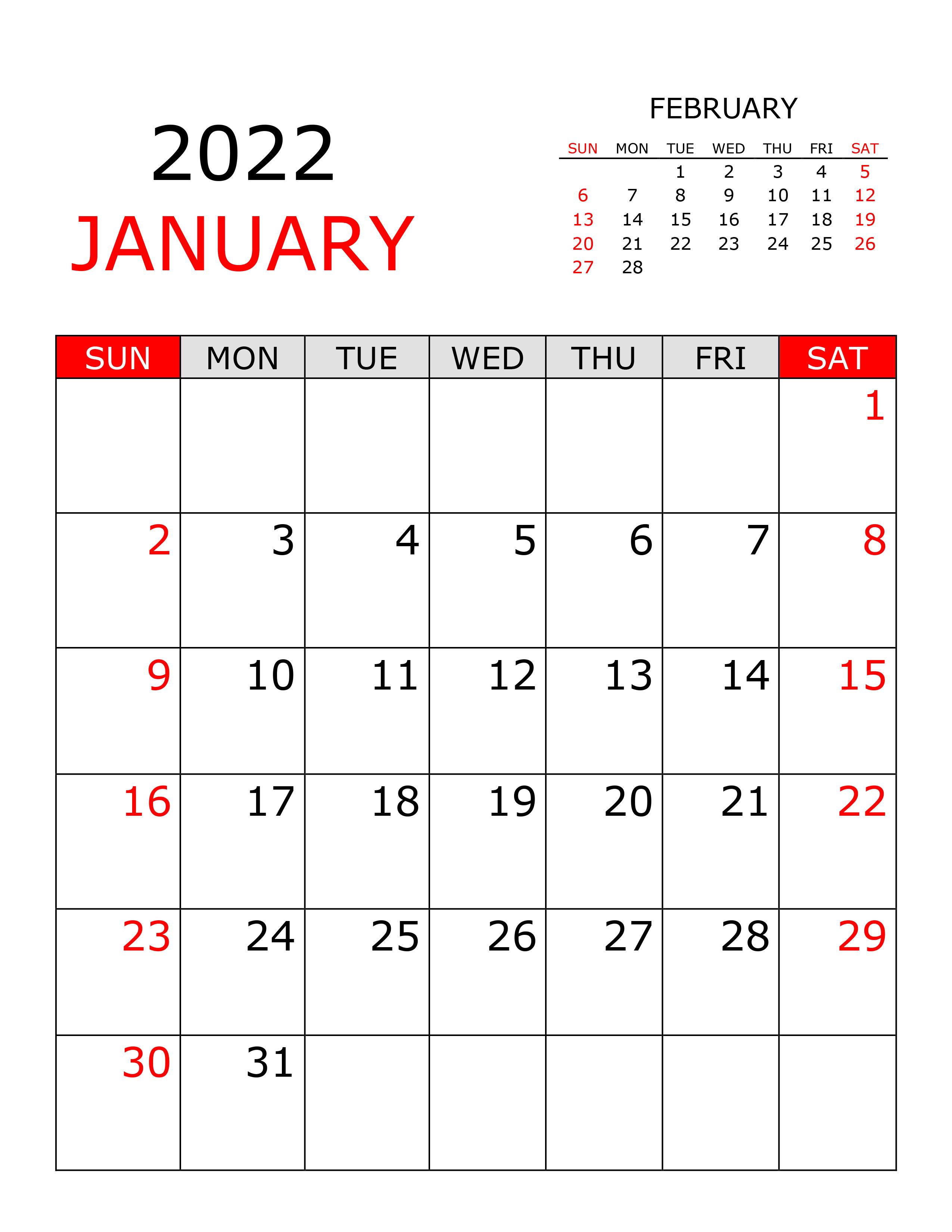 Calendar For January 2022 – Free Calendar.su Inside Calendar 2022 January Printable