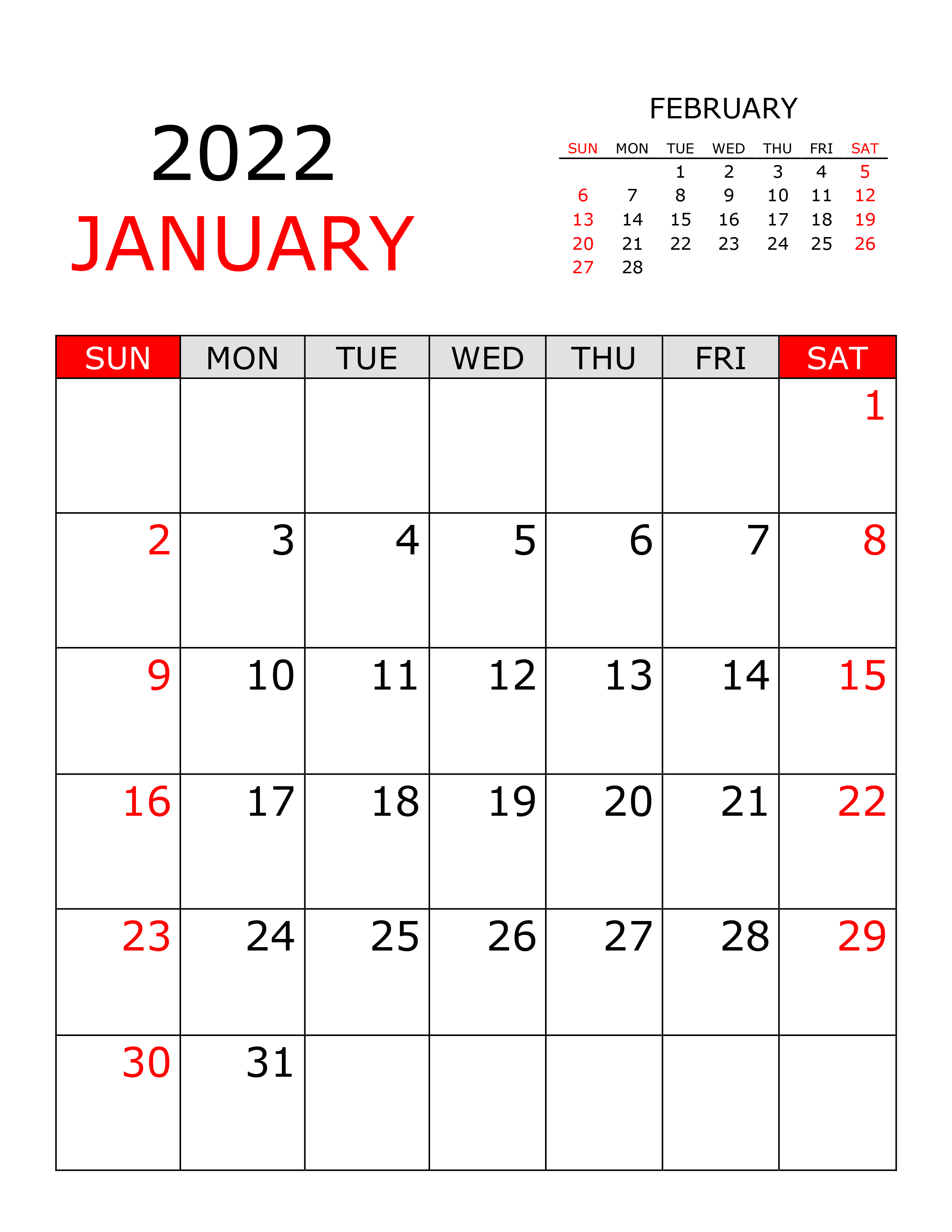 Calendar For January 2022 - Free Calendar.su Pertaining To January 2022 Calendar Printable Free
