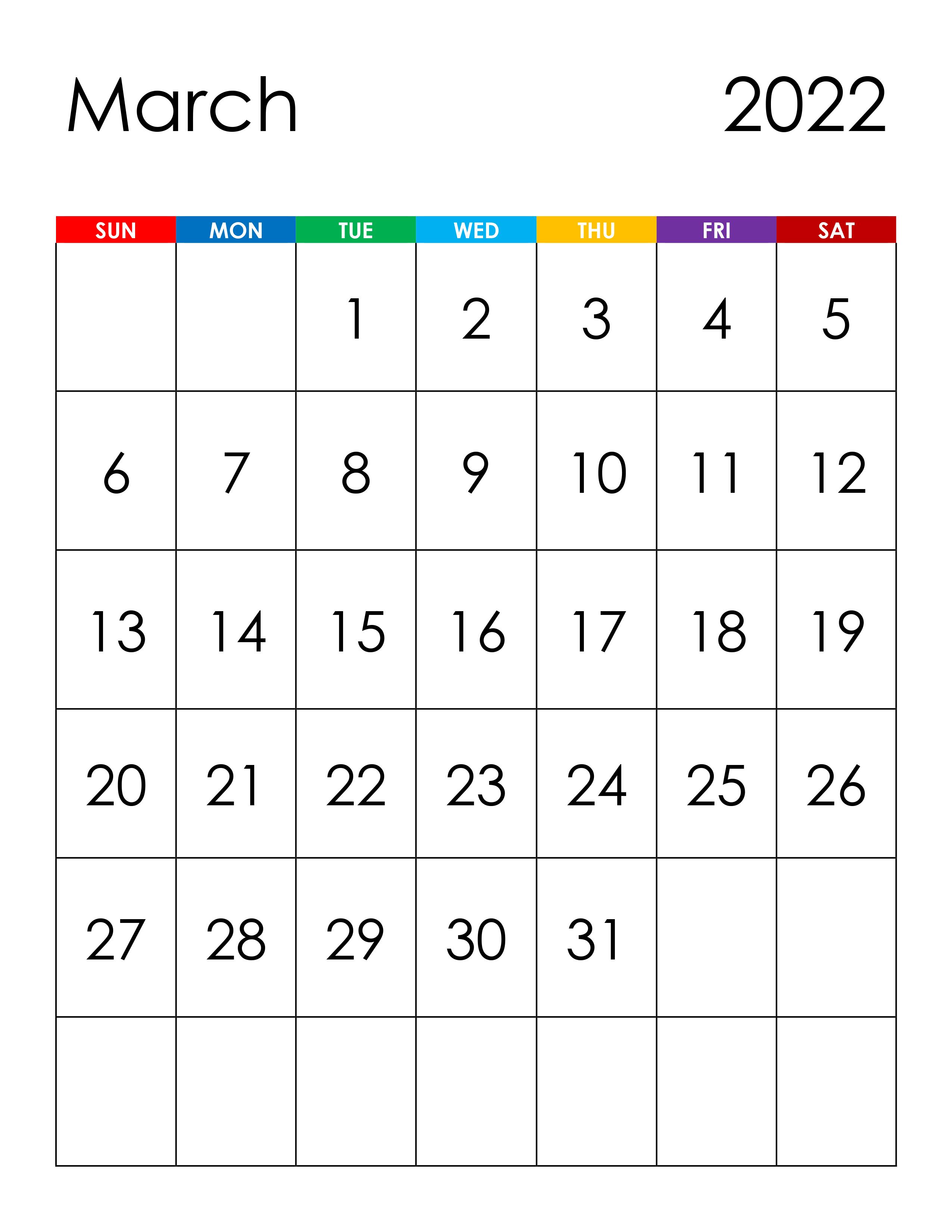 Calendar For March 2022 – Free Calendar.su With 2022 Calendar Feb March April