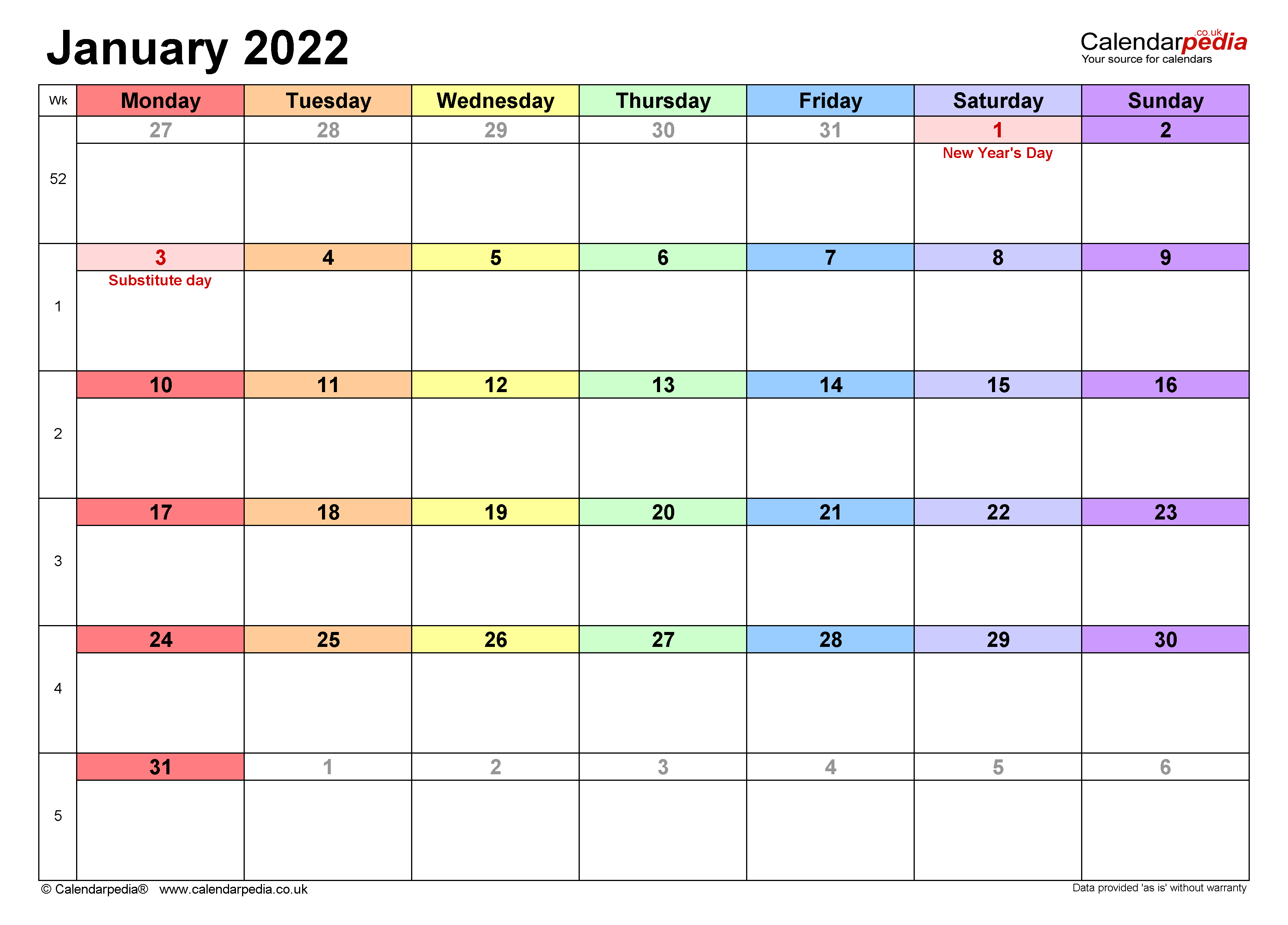 Calendar January 2022 Uk With Excel, Word And Pdf Templates Pertaining To Empty Calendar January 2022